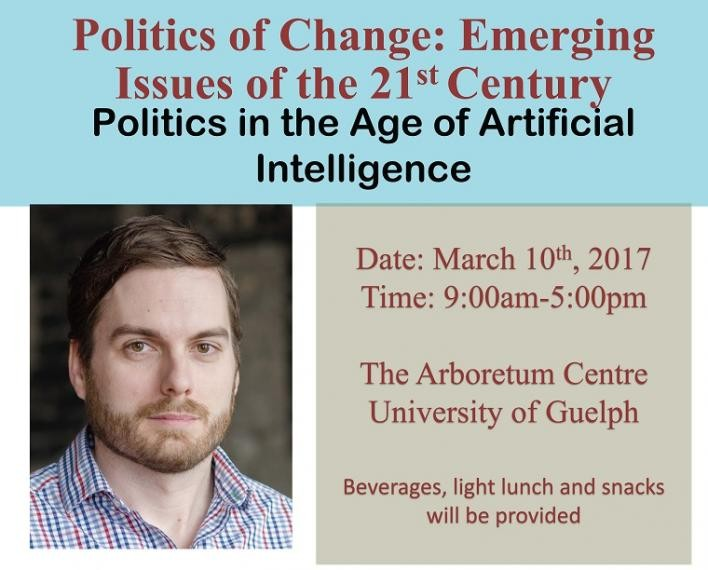 Photo of keynote speaker Clifton van der Linden, Politics of Change: Emerging Issues of the 21st Century, Politics in the Age of Artificial Intelligence, date, time, location are all duplicated in text