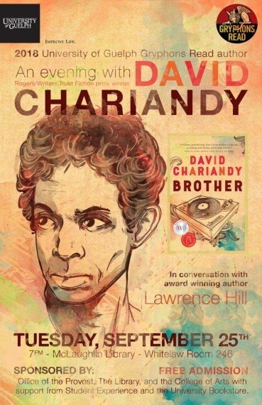 """David Chariandy face with the cover of his book """"Brother"""" beside him"""
