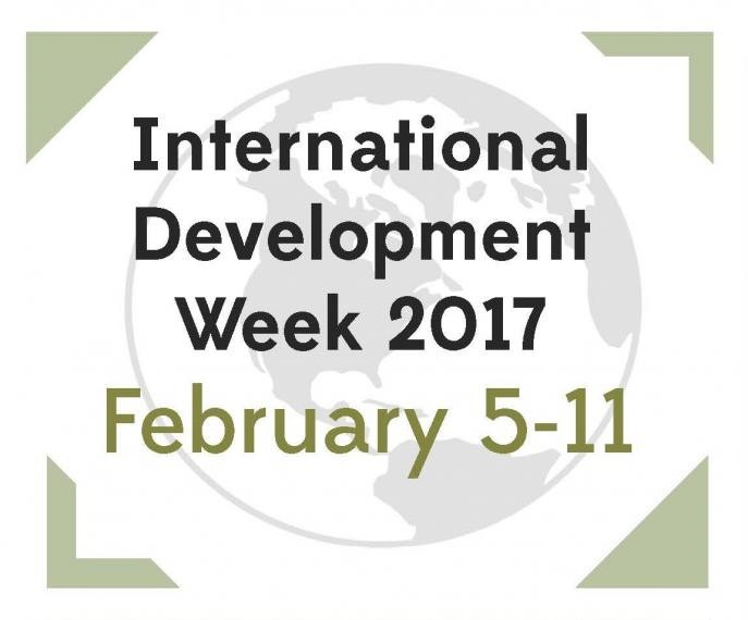 International Development Week 2017 February 5-11, watermark of globe in background