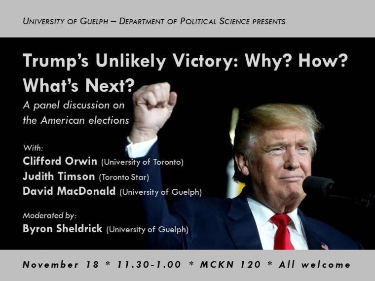 Trump's Unlikely Victory: Why? How? What's Next? poster - information on page.