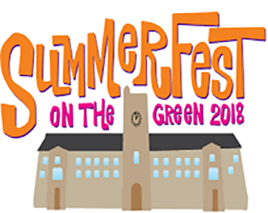 Summerfest on the green 2018 written above a clipart version of johnston hall